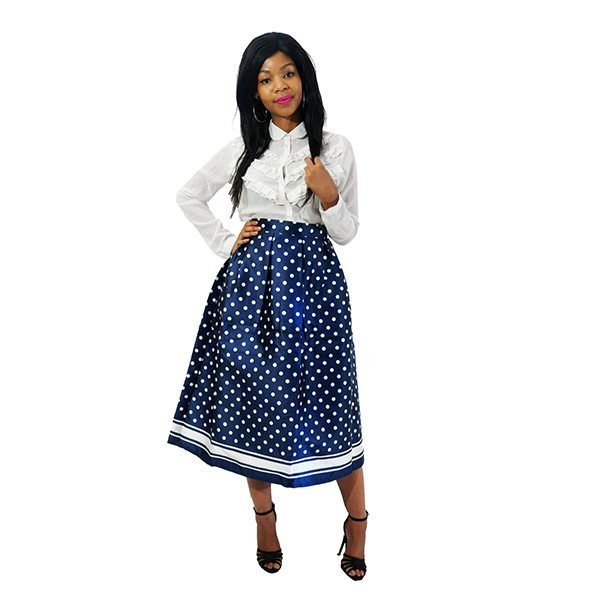 10a4b23049 Vintage White Polka Dot Geometric Print High Waist Pleated Skirt Navy Blue